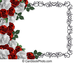 Valentine or Wedding Border Roses - Image and illustration...
