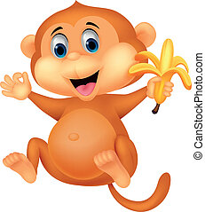 Cute monkey cartoon eating banana - Vector illustration of...