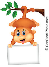 Cute monkey cartoon with blank sign - Vector illustration of...