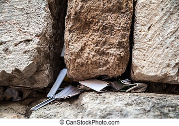 Western wall - Closeup of the messages in the Western Wal,...