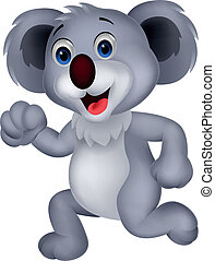 Cute koala cartoon running - Vector illustration of Cute...