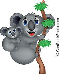 mère, bébé, koala, dessin animé