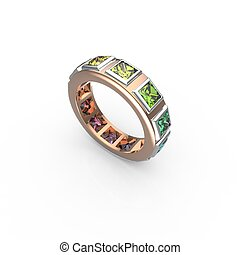 Ring with colored gemstones