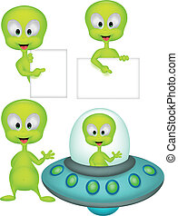 Cute geen alien cartoon collection - Vector illustration of...