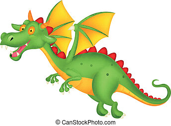 Cute dragon flying - Vector illustration of Cute dragon...