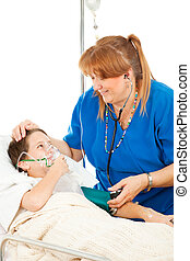Friendly Nurse and Child - Friendly pediatric nurse comforts...
