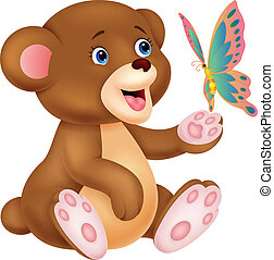 Cute baby bear cartoon playing with - Vector illustration of...