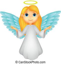 White angel cartoon - Vector illustration of White angel...