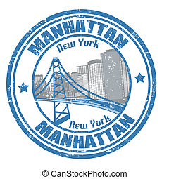 Manhattan stamp - Grunge rubber stamp with the name of...