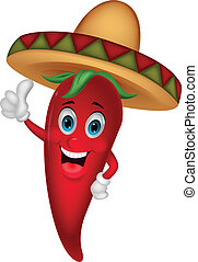 Chili cartoon with sombrero hat - Vector illustration of...