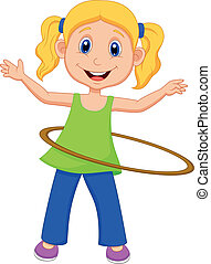 Cute girl twirling hula hoop - Vector illustration of Cute...