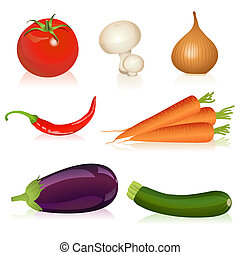 Set of vegetables - Illustration of tomato, mushroom, onion,...