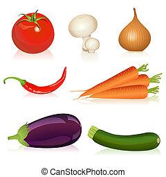 Set of vegetables - Illustration of tomato, mushroom, onion,...