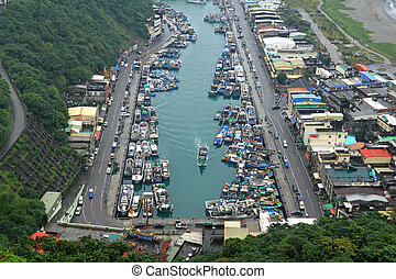 The Port of Suao, Yilan, Taiwan - Many ships at the Large...