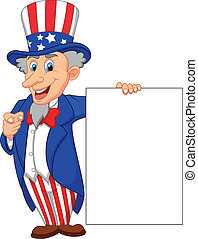 Uncle sam cartoon with blank sign - Vector illustration of...