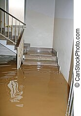stair of a House fully flooded during the flooding of the...