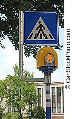 pedestrian crossing sign with flashing led lights
