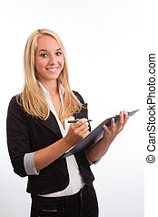 Young woman with checklist looking into camera isolated on...