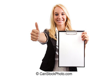 Young woman with checklist and thumb up isolated on white