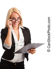 Young woman with checklist and glasses looking - Young woman...