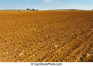Plowed Fields - High-voltage Power Line Passes through the...