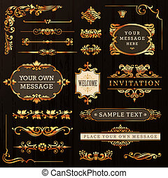 Golden Calligraphic Design Elements - Golden Vintage...