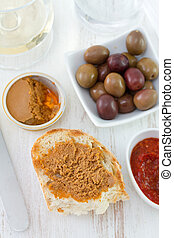 sardine pate with olives and wine