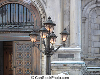 Light post - A light post in front of the city hall in...
