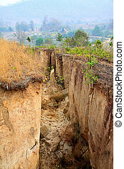 Land Cracked, natural disaster - A huge space between dried...