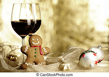 Two glasses of Red Wine, Gingerbread Man and Christmas...