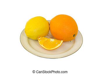 Orange and Lemon 3 - A close-up of the orange and lemon on...