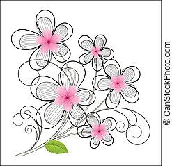 Vintage Flower Design - Creative Drawing Art of Vintage...