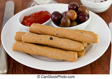 bread stick on the white plate