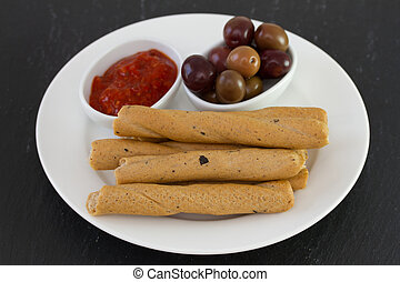 bread stick on the plate