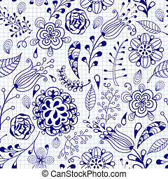 Vector Seamless Floral Summer Doodle Pattern - Vector...
