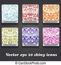 6 Vector Shiny Icons - 6 vector shiny icons with floral...