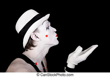 Portrait of a theater actor with mime makeup close up