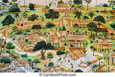 Thai mural painting of life of the Thai people in the past...