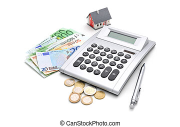 Calculating - House, calculator and money isolated on white...