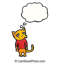 cat with thought cloud cartoon