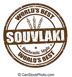 Souvlaki stamp - Grunge rubber stamps with the word souvlaki...