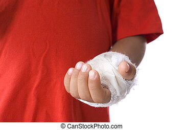Hurt Hand - Boy hand immobilized close up .