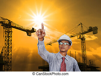 engineering man working in construction site use for...