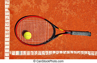 Tennis ball and racket on a court - Tennis ball and racket...