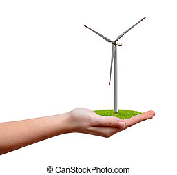 wind turbine in hand isolated