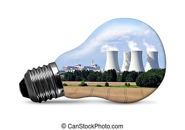 Nuclear power plant in bulb isolated on white