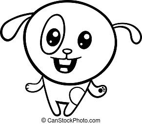 cartoon kawaii puppy coloring page - Black and White Cartoon...