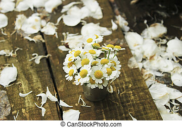 bouquet of daisies - small bouquet of daisies in a steel...