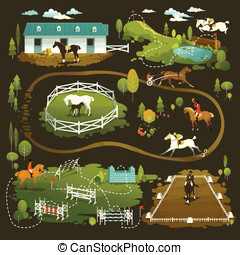 Equestrian world - Equestrian vector illustrations of horse...