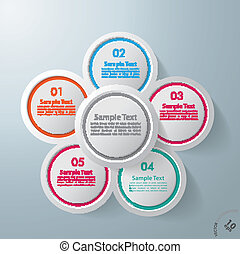 Infographic Design Flower 5 Options - Colorful infographic...